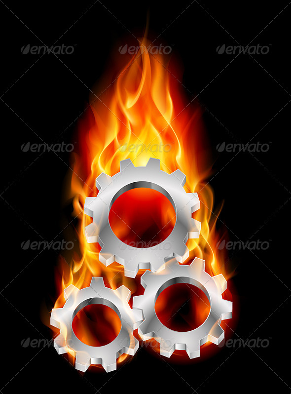 GraphicRiver Gearwheel in Fire 4157268