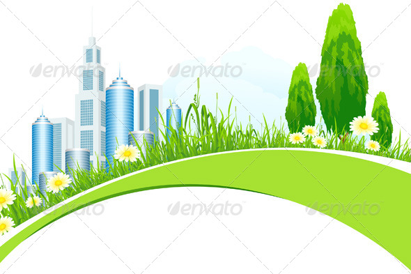 GraphicRiver Abstract Background with City Line and Trees 4157522