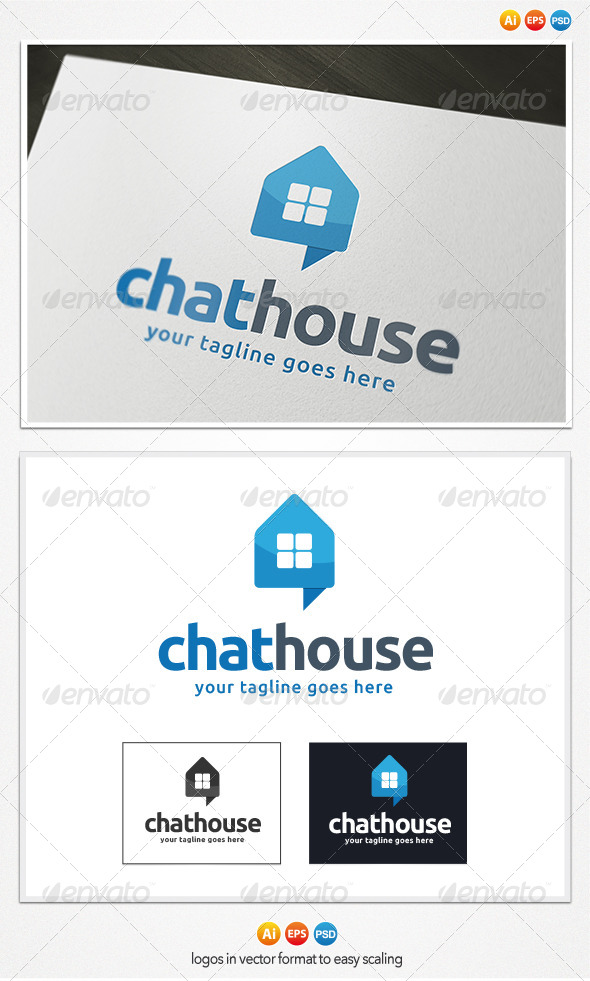 GraphicRiver Chat House Logo 4078756