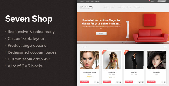 Seven shop - Responsive&Retina ready Magento theme