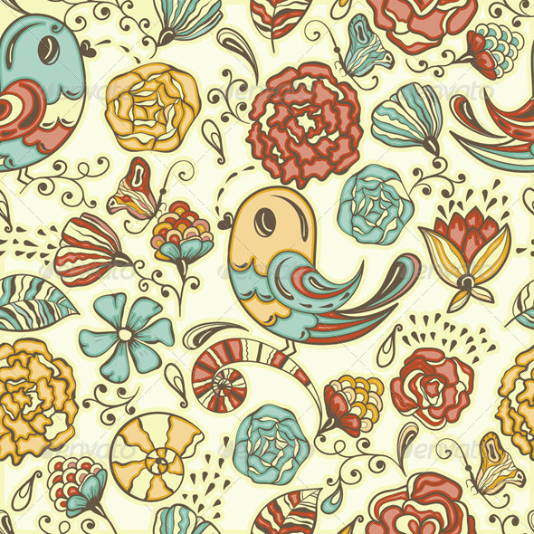 GraphicRiver Vector Seamless Spring Pattern 4157973