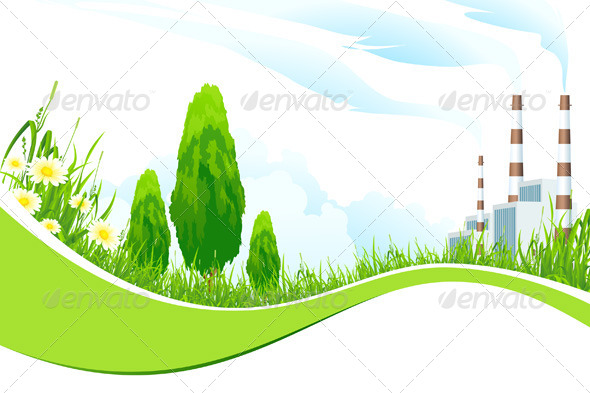 Abstract Background with Power Plant and Trees - Landscapes Nature
