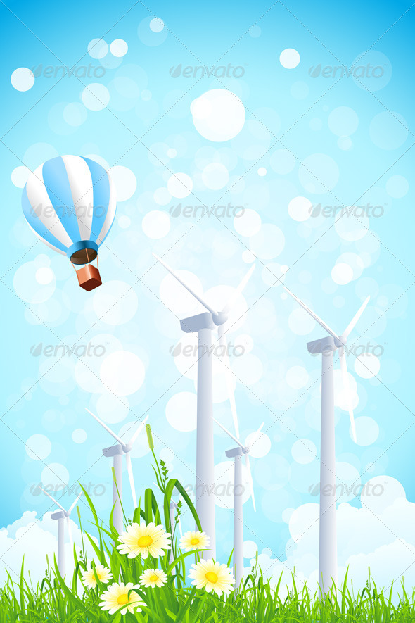 Abstract Background with Wind Power Plant  - Landscapes Nature