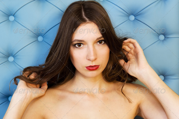 beautiful woman with naked shoulders - Stock Photo - Images