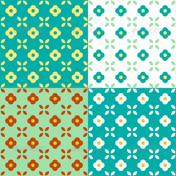 GraphicRiver Graphic Flowers Seamless Pattern 4158215