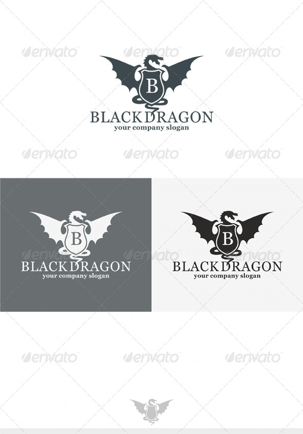 Black Dragon Logo - Crests Logo Templates