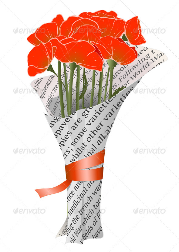 GraphicRiver Red Poppies in Newspaper Illustration 4158240