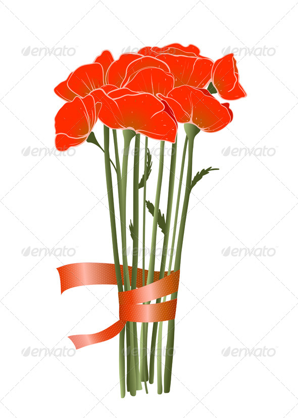 GraphicRiver Red Poppies with Ribbon 4158243