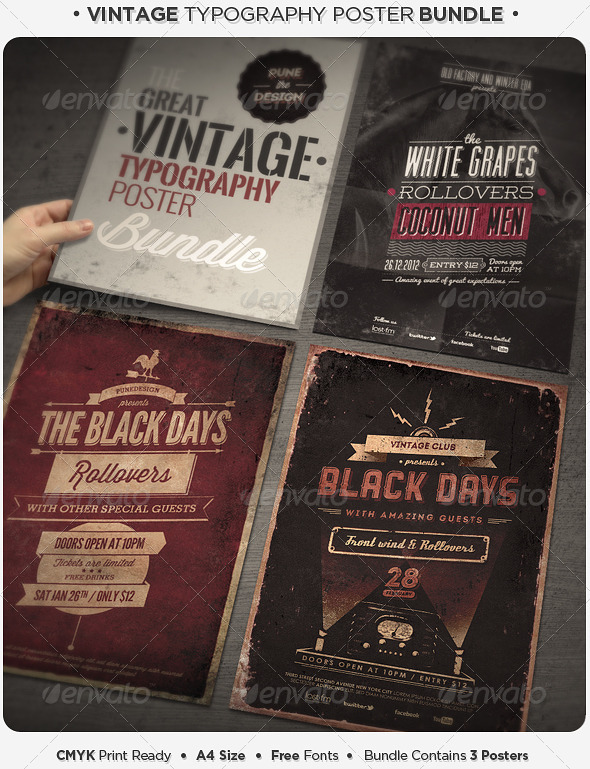 GraphicRiver Vintage Typography Poster Bundle 4160606