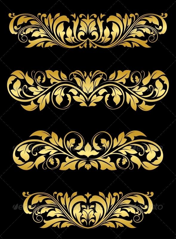 GraphicRiver Golden floral embellishments 4162210