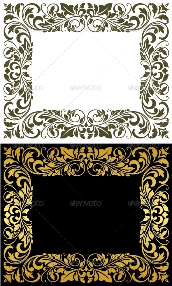 GraphicRiver Elegance frame in floral style 4162256