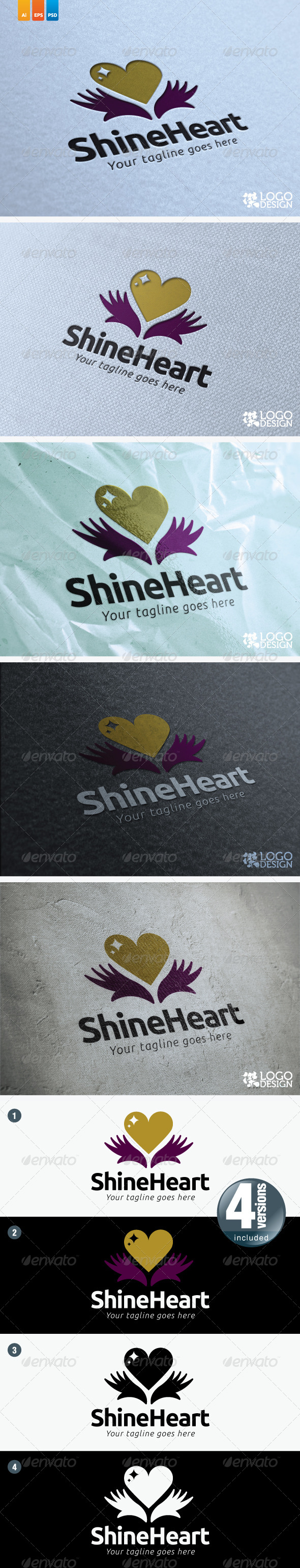 Shine Heart - Humans Logo Templates