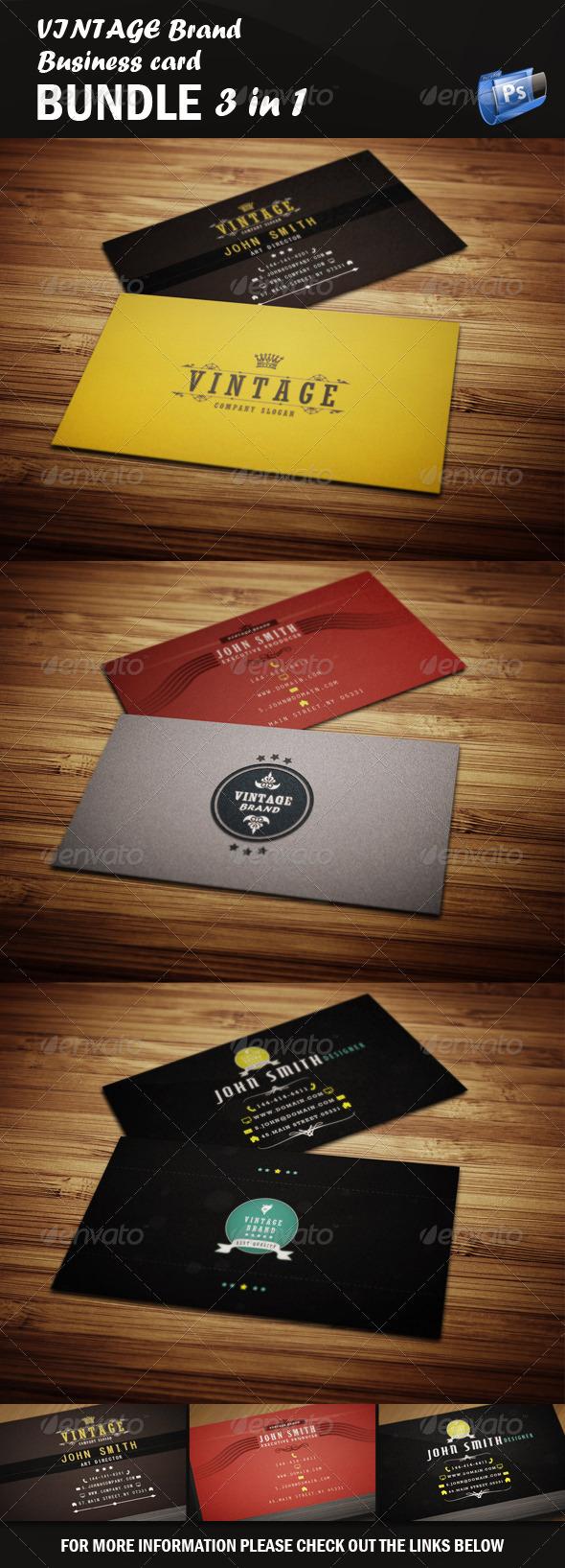 GraphicRiver Vintage Business Card Bundle 4163318