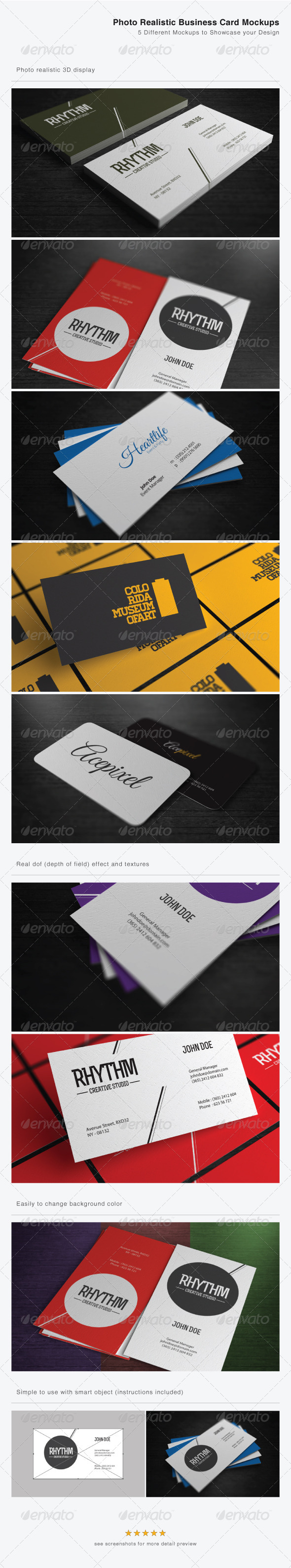 GraphicRiver Photo Realistic Business Card Mockups 4163466