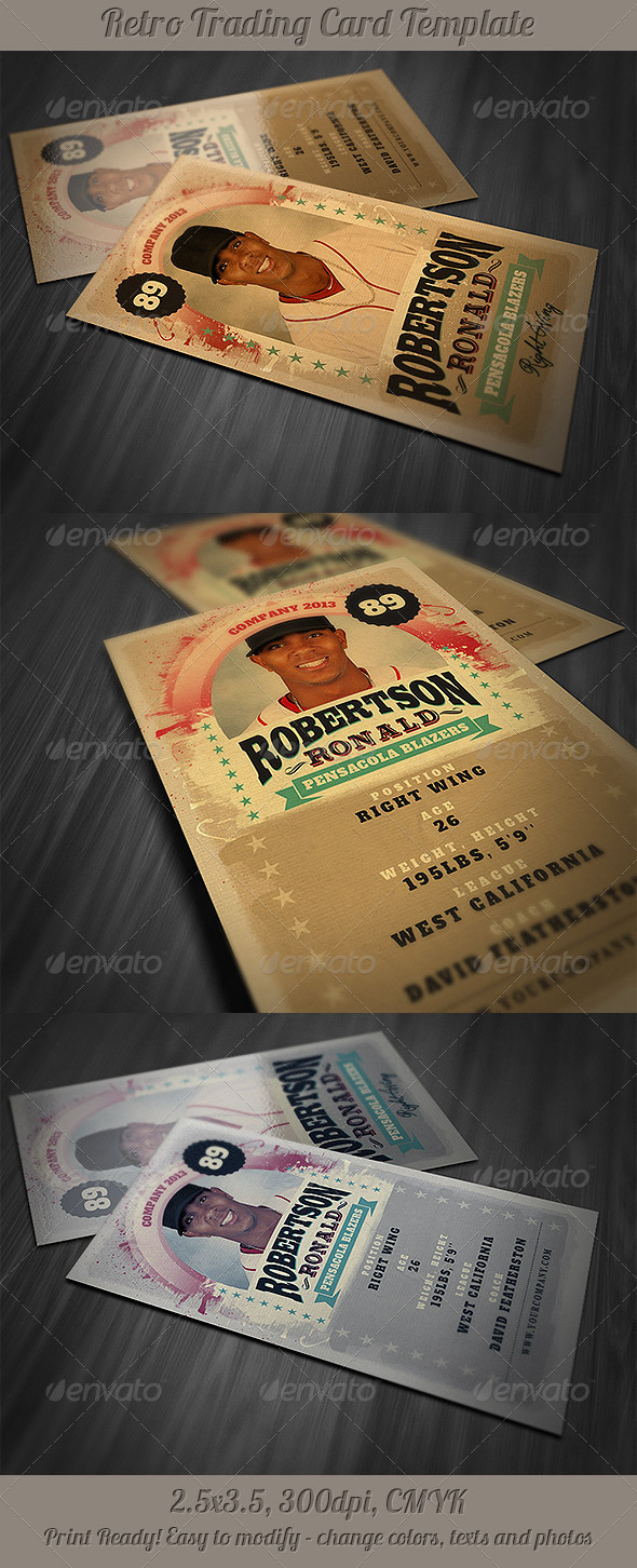 GraphicRiver Retro Trading Card Template 4163512