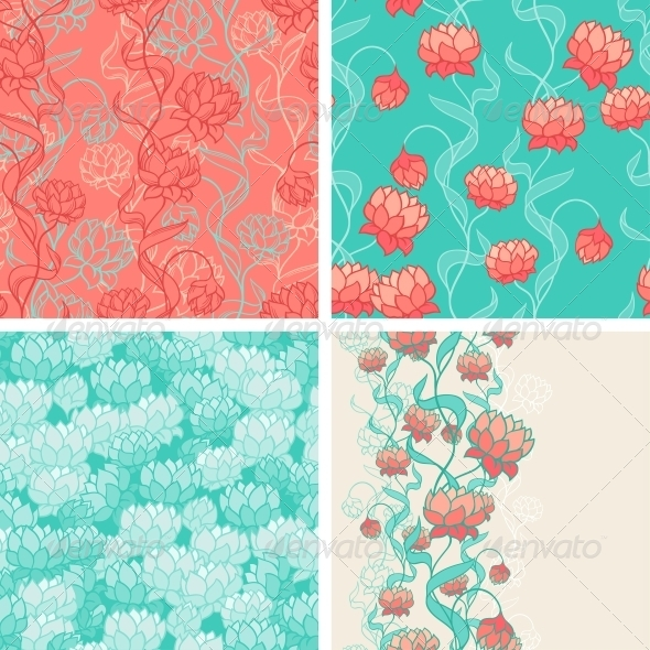 GraphicRiver Seamless Patterns with Abstract Flowers 4164001