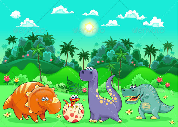 GraphicRiver Dinosaurs in the Forest 4164006