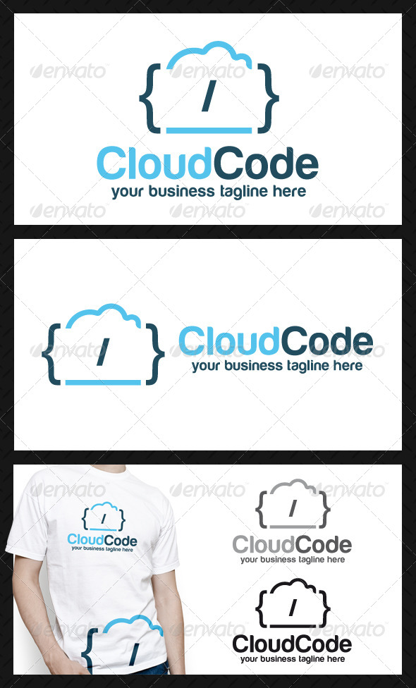 GraphicRiver Cloud Code Logo Template 4165562