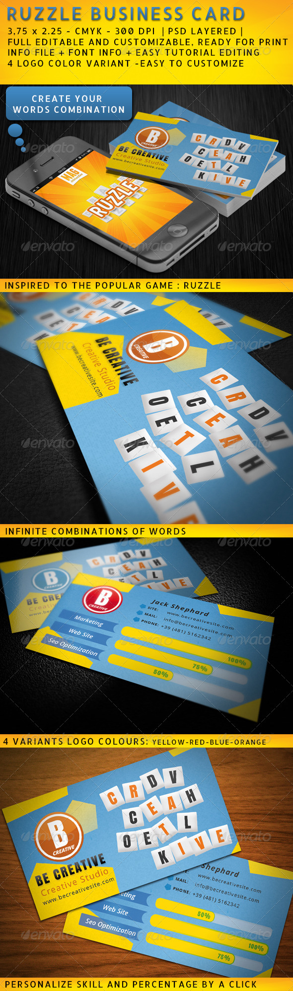 GraphicRiver Ruzzle Style Creative Business Card 4018153