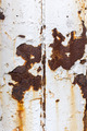 Close up of white paint pealing off of metal with rust stains - PhotoDune Item for Sale