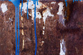 Blue and white paint spill on rusted metal texture - PhotoDune Item for Sale