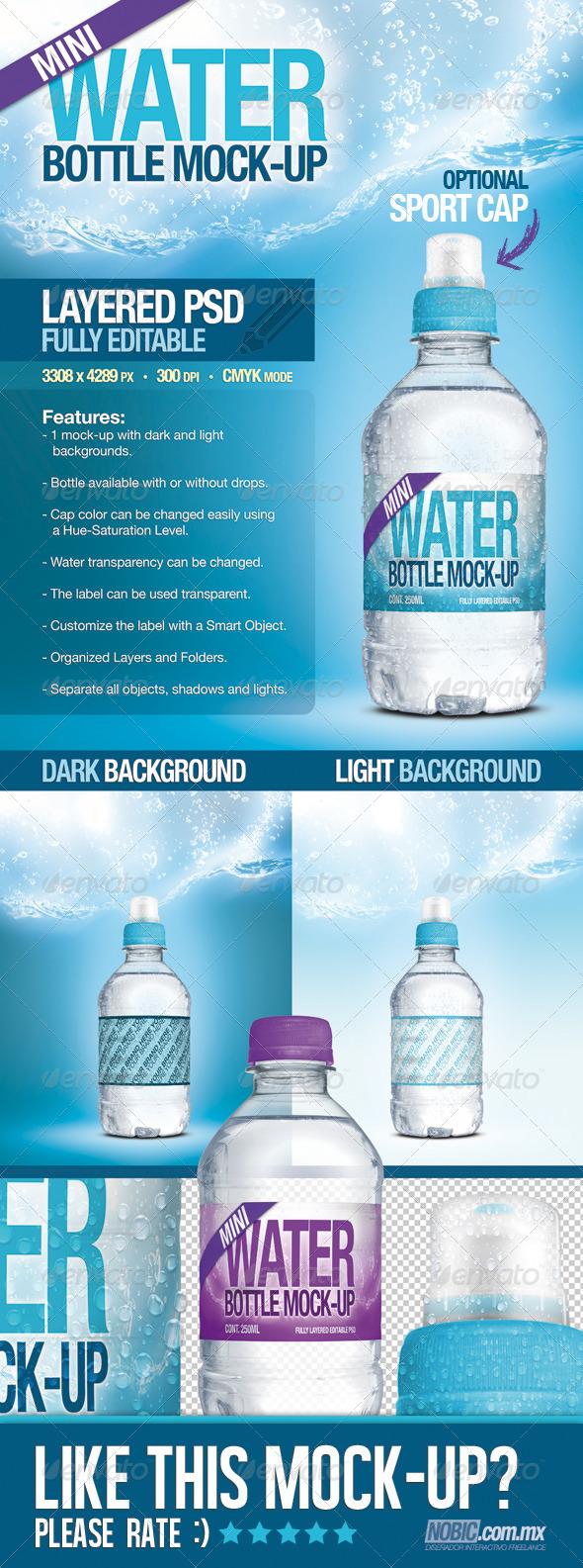 GraphicRiver Mini Fresh Water Bottle Mock-Up 4167591