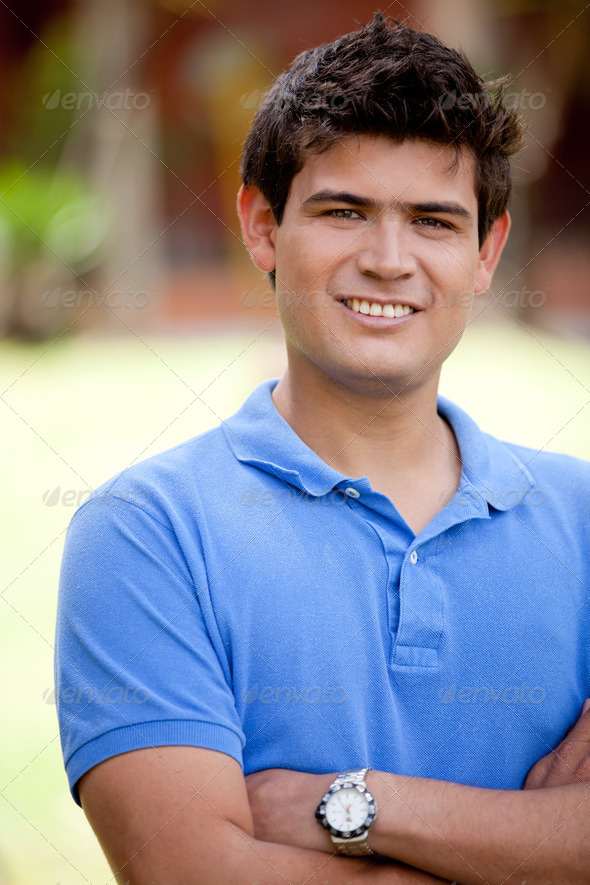 Casual man outdoors - Stock Photo - Images