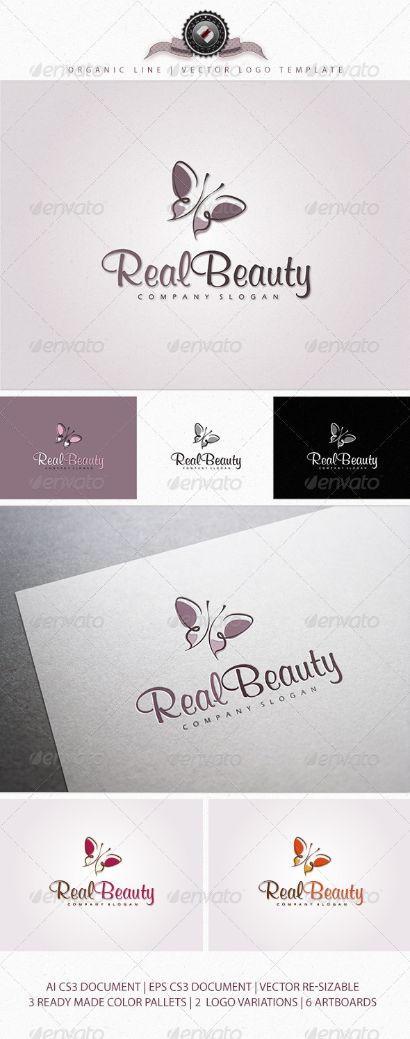 GraphicRiver Organic Butterfly Logo Template 4093914