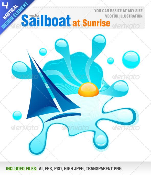 GraphicRiver Sailboat at Sunrise 4169247