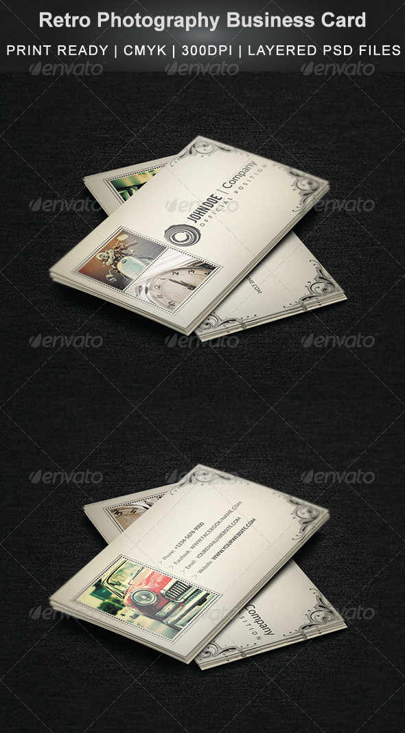 GraphicRiver Retro Photography Business Card 4169325