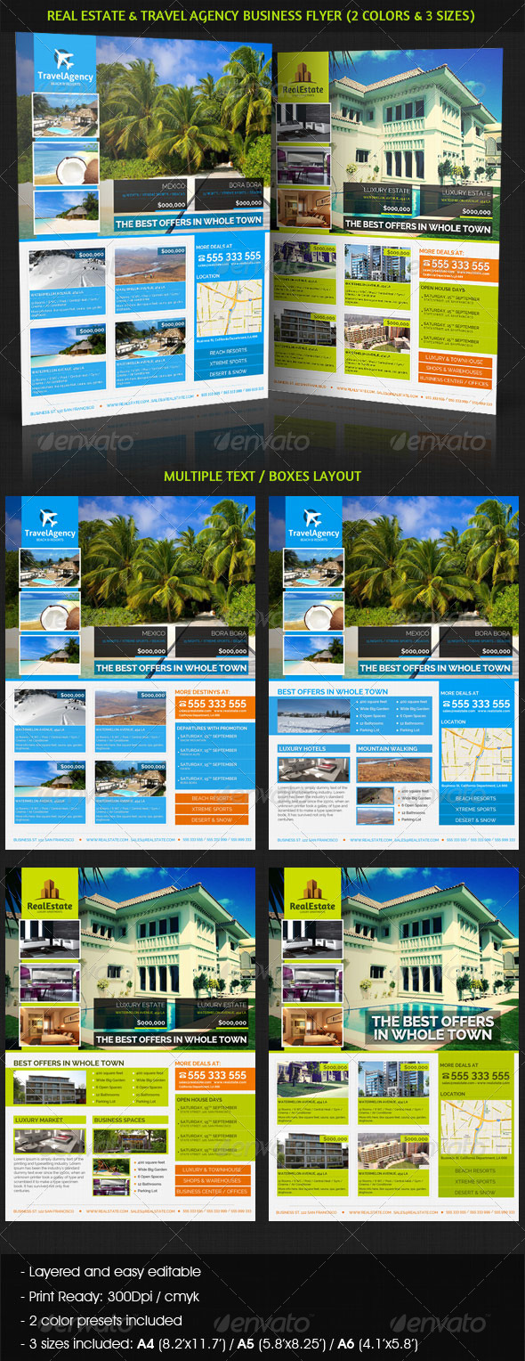 GraphicRiver Real Estate & Travel Agency Business Flyer 4039664