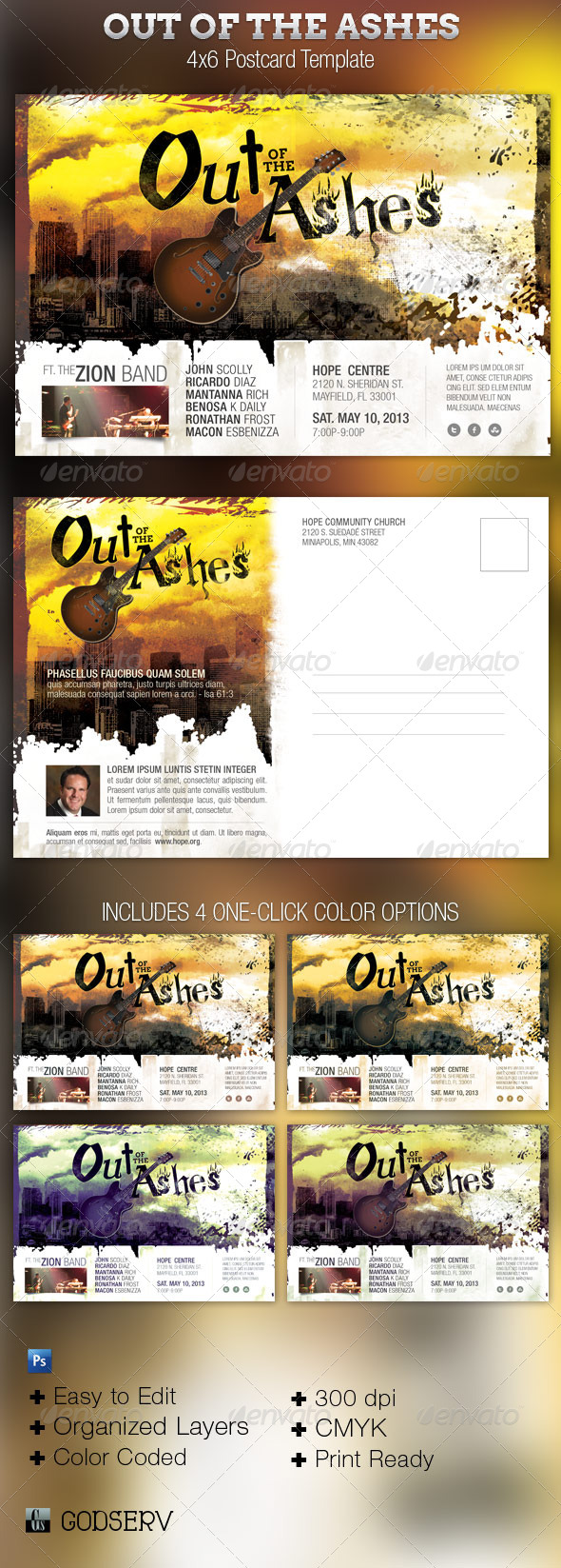 Out of The Ashes Flyer and Postcard Template - Church Flyers