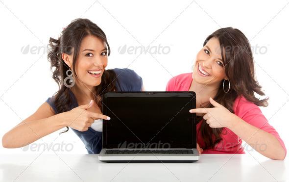 PhotoDune Happy women with laptop 451179