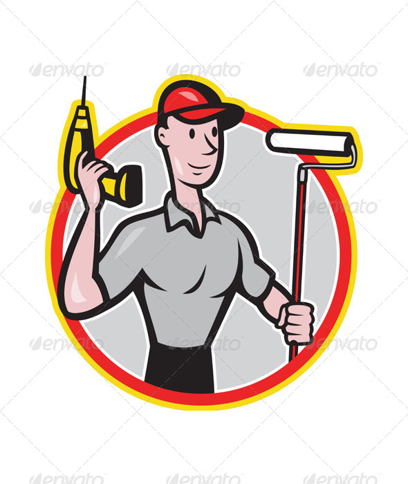 House Painter Handyman Cartoon - People Characters
