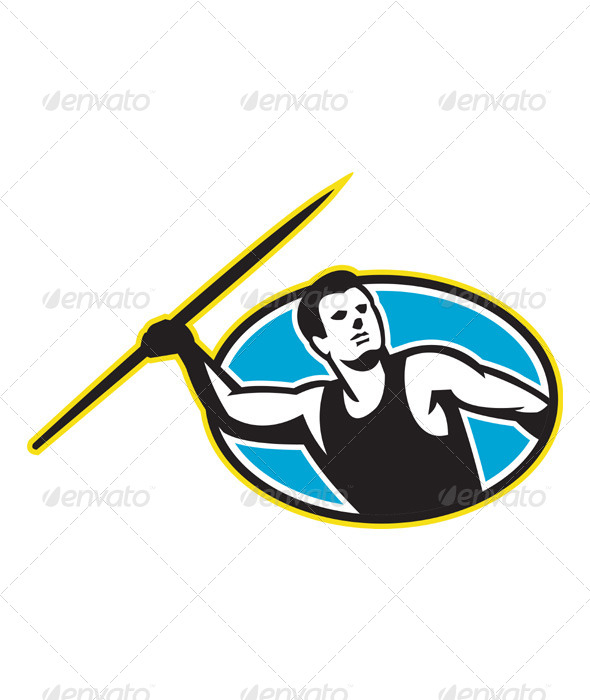 GraphicRiver Javelin Throw Track and Field Athlete 4170491