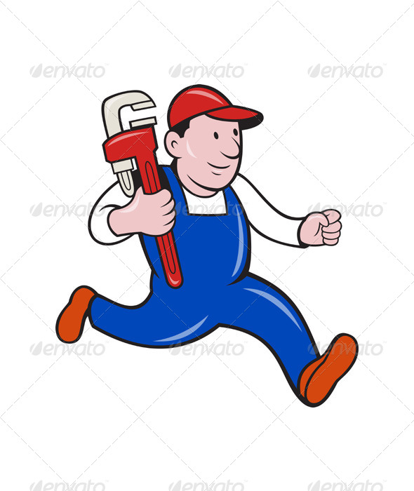 Cartoon Plumber With Monkey Wrench - People Characters