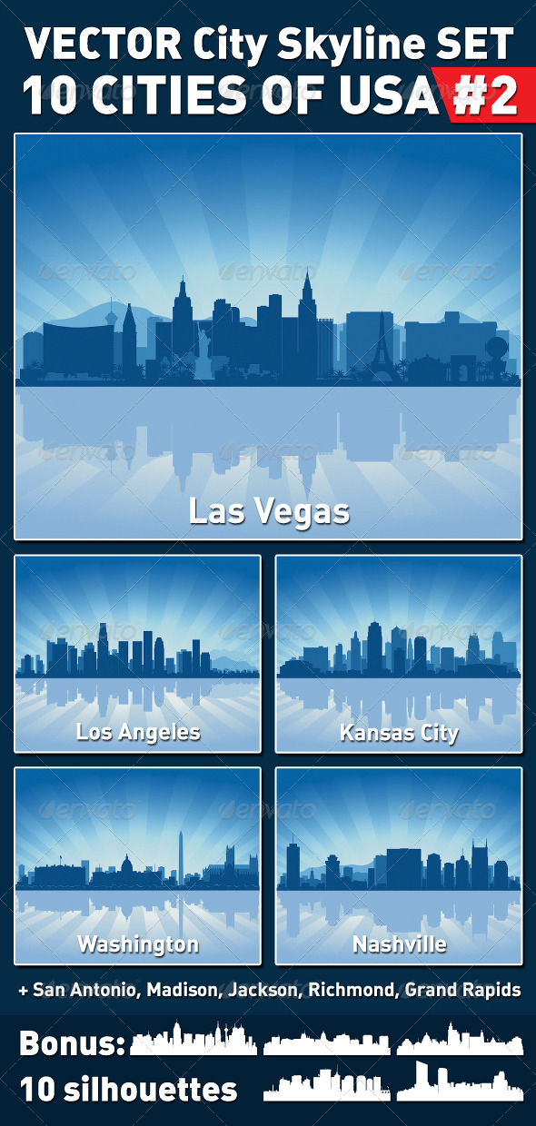 GraphicRiver Vector City Skyline Set USA #2 4170591