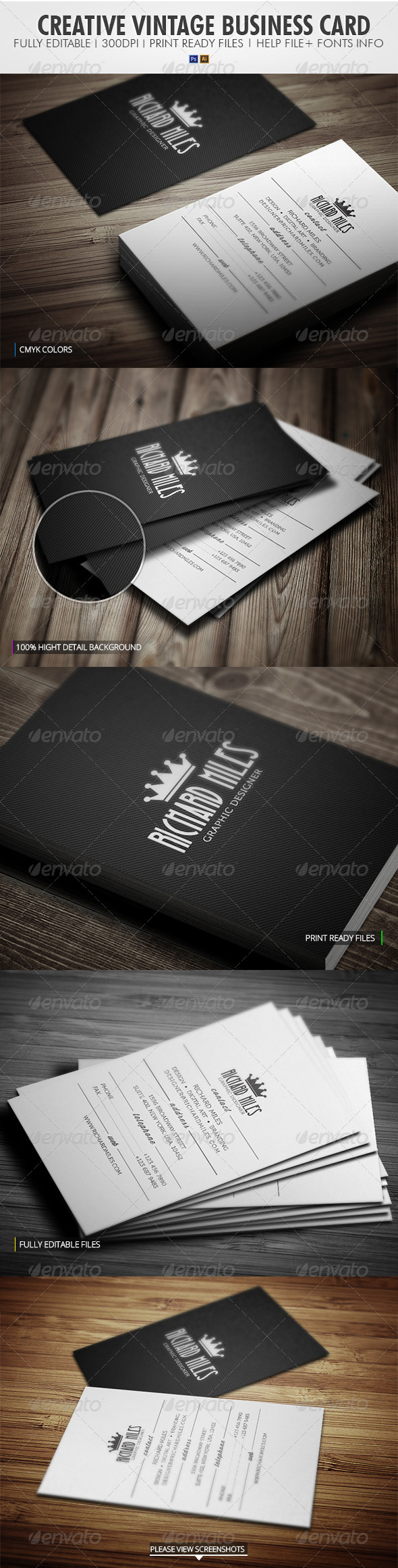 GraphicRiver Creative Vintage Business Card 4170770