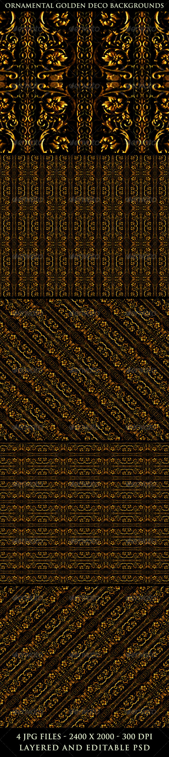 Ornamental Golden Deco Backgrounds - Patterns Backgrounds