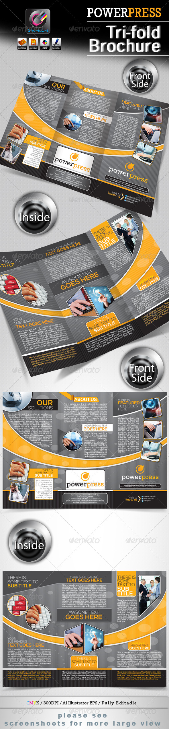 Power Press Tri-fold Corporate Business Brochure