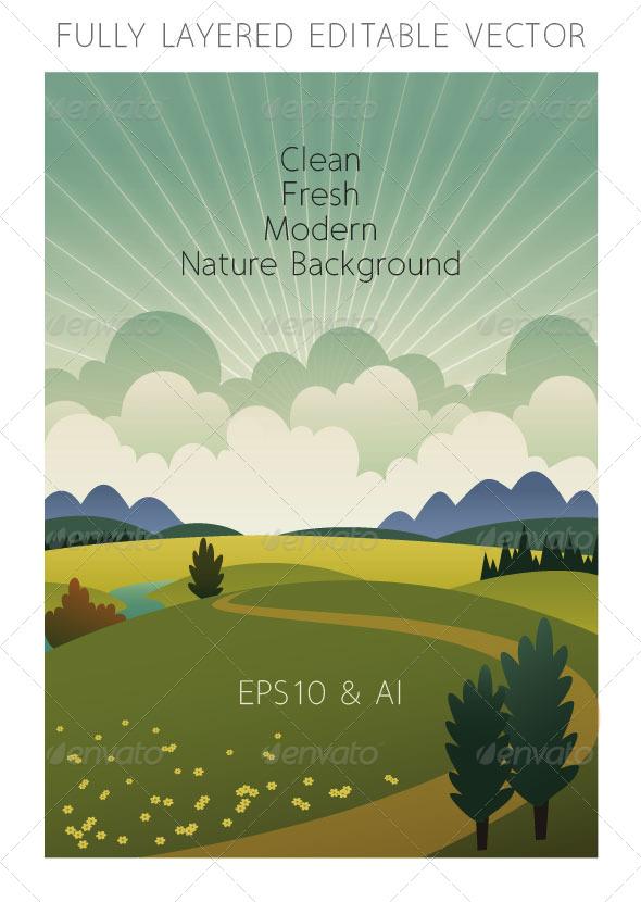 Landscape with Clouds & Radiant Light - Vertical - Landscapes Nature
