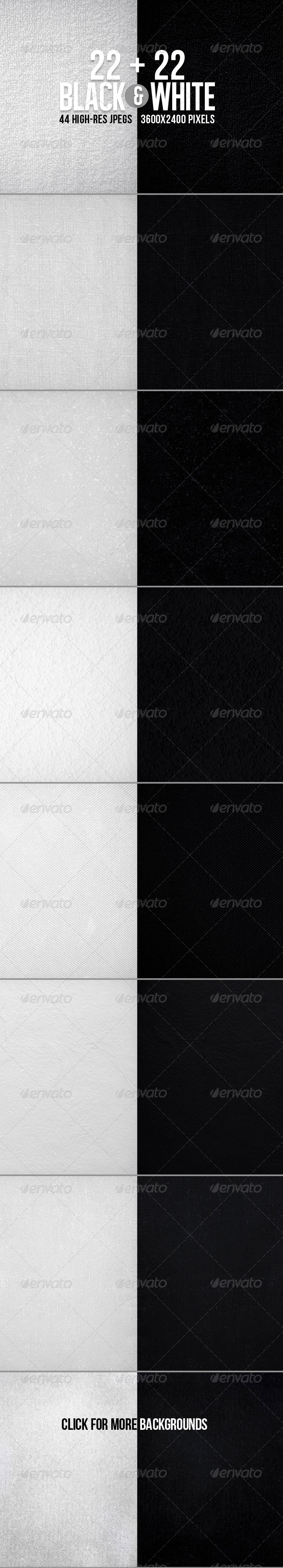 44 Black&White Textured BGs - Miscellaneous Backgrounds