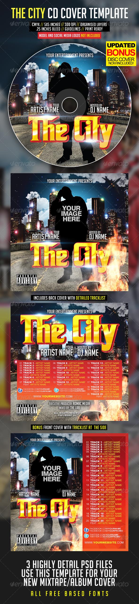 The City CD Cover - CD & DVD artwork Print Templates