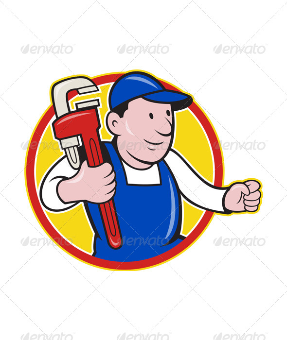 GraphicRiver Plumber With Monkey Wrench Cartoon 4174745