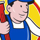 Plumber With Monkey Wrench Cartoon - GraphicRiver Item for Sale