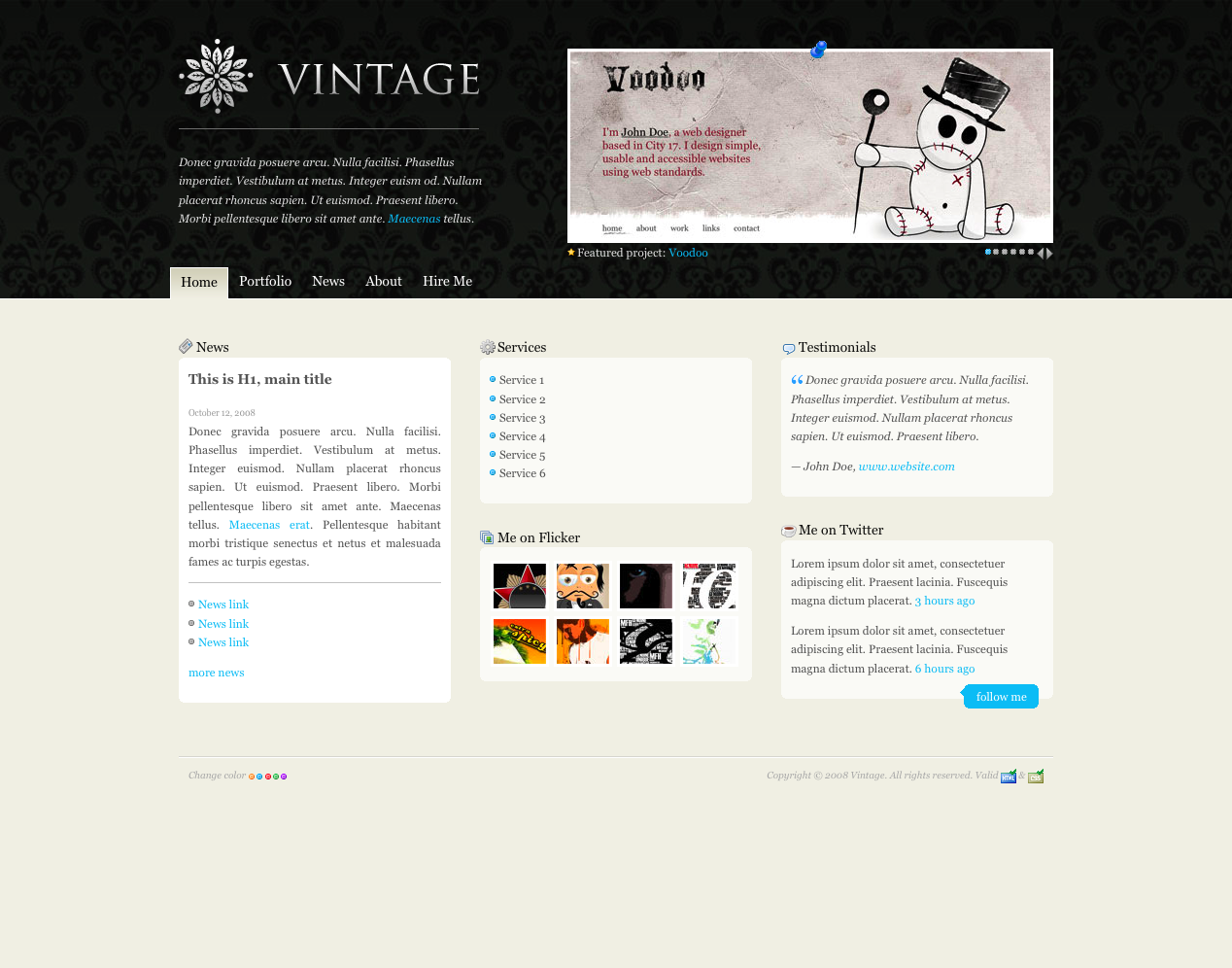 Vintage - Home Page with blue color scheme