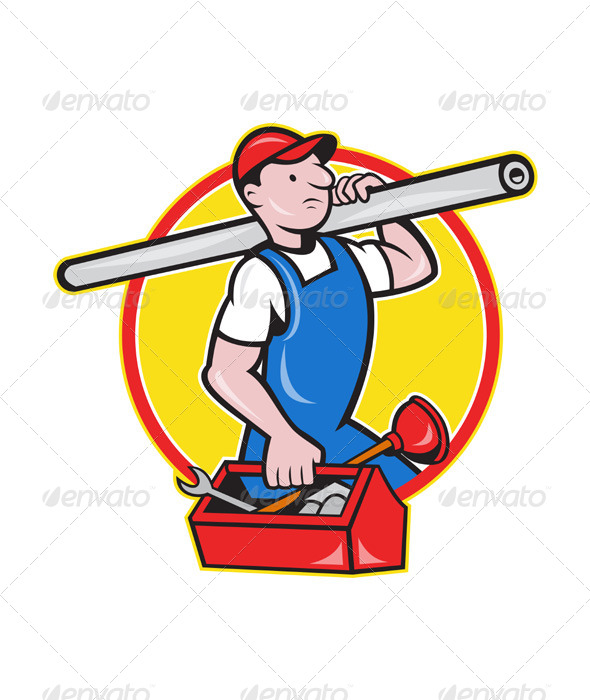 GraphicRiver Plumber with Pipe Toolbox Cartoon 4174754