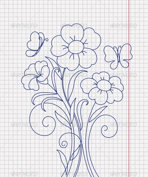 GraphicRiver Kidstyle Flower Sketch on the Paper Sheet 4175117