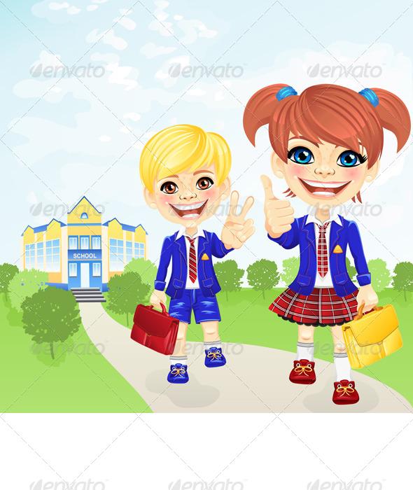 Vector School Girl and Boy near School - People Characters