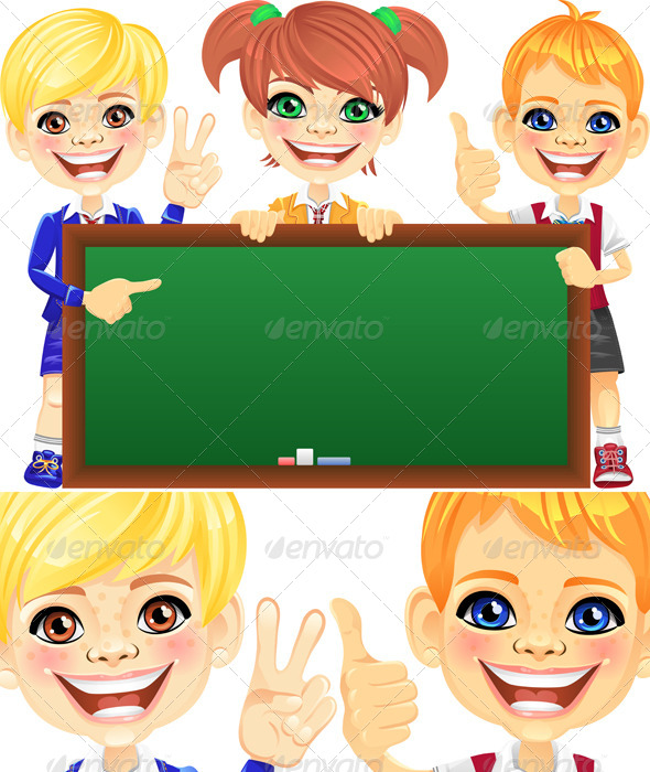 GraphicRiver Vector Smile Kids with Banner Blackboard 4175362